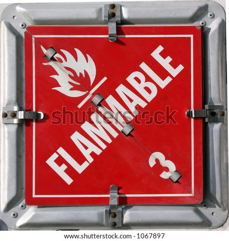 "DOT/IMO HAZARDOUS MATERIALS PLACARDS ""flammable 3"" - stock photo"