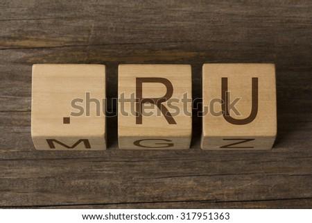 dot ru - internet domain for Russia - stock photo