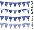 dots stripes chevron triangles patterned flags on gray rope blue holiday celebration decoration bunting set colorful isolated elements on white background raster version - stock photo