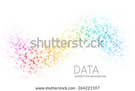 Dots with connections, triangles light background - stock photo