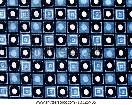 Dotted and checked blue-white and black textile background - stock photo