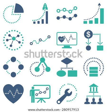 Dotted infographic business icons on a white background. This bicolor raster icon set uses cyan and cobalt blue colors.  - stock photo