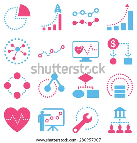 Dotted infographic business icons on a white background. This bicolor raster icon set uses pink and light blue colors.  - stock photo