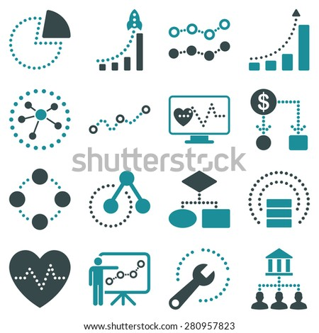 Dotted infographic business icons on a white background. This bicolor raster icon set uses soft blue color scheme.  - stock photo