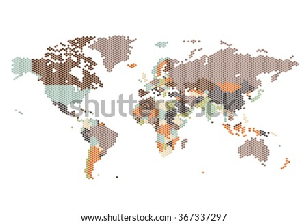 Dotted World map of hexagonal dots on white background. - stock photo