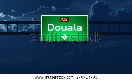 Douala Cameroon Highway Road Sign at Night 3D artwork - stock photo