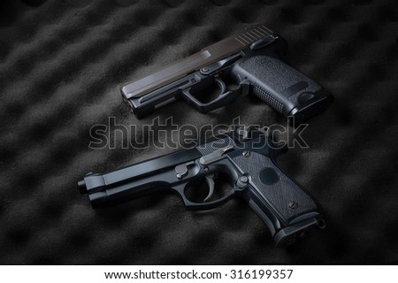 Double automatic pistols - stock photo
