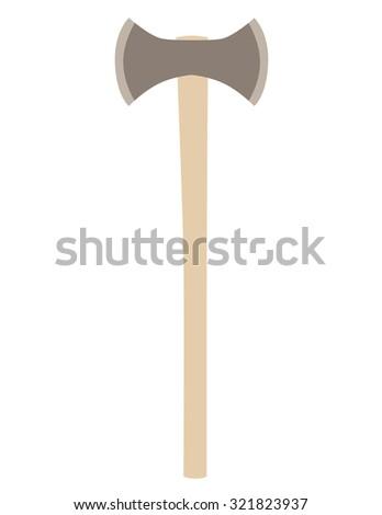 Double axe raster isolated , hatchet raster, battle weapon, viking weapon - stock photo