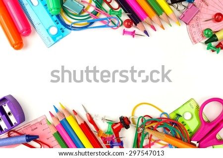 Double border of colorful school supplies on a white background - stock photo