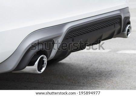 Double car exhaust pipies - stock photo