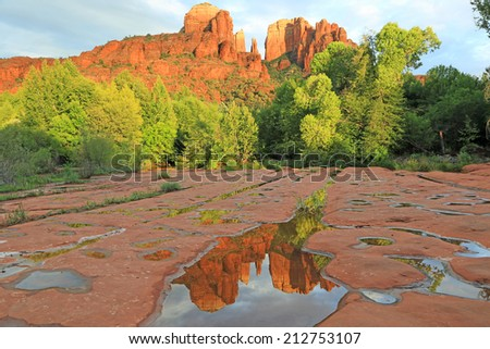 Double Cathedral Rock,  Sedona, Arizona - stock photo