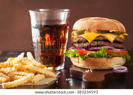 double cheese burger with jalapeno tomato onion - stock photo