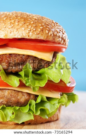 Double cheeseburger with tomatoes and lettuce on blue background - stock photo