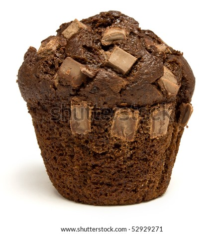 Double Chocolate fondant filled Muffin isolated against white background. - stock photo
