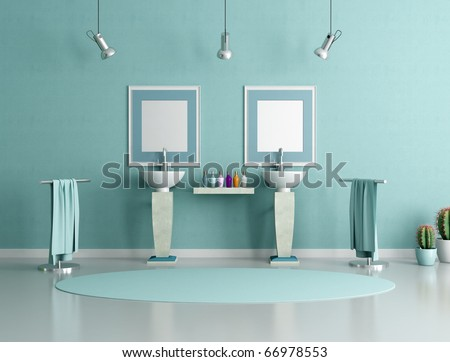 double column sink in a modern bathroom - rendering - stock photo