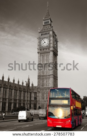 Double-deck red bus on Westminster Bridge with Big Ben in London. - stock photo