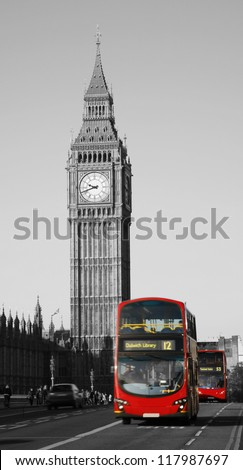 Double Decker Bus, most iconic symbol of London, and Big Ben in far behind - stock photo
