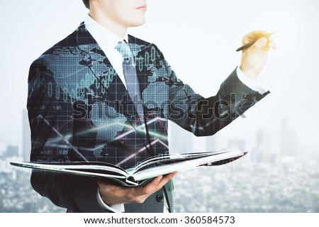 Double explosure with business chart and businessman with book and a pen - stock photo