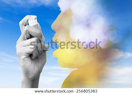 double exposure asthma inhalation - stock photo