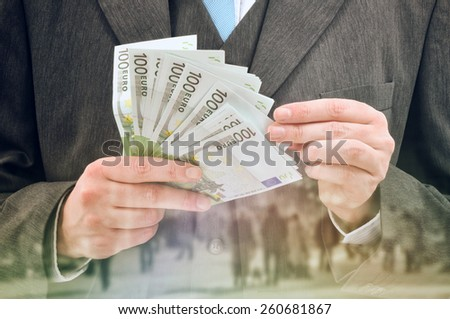 Double exposure Bank Officer Providing Service of Installment Loan in Cash, Euro Banknotes. - stock photo