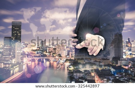 Double exposure businessman hand touching world map on futuristic communication interface and aerial view of Bangkok, Thailand along Chao Phraya River. Investment, Insurance Agent, Business concept. - stock photo