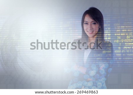 double exposure businesswoman has city,plane,stock exchange  - stock photo