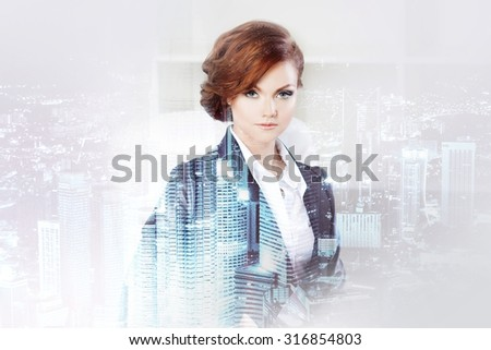 Double exposure concept with business woman and  metropolis on background. With special lighting effects - stock photo