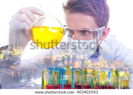 Double exposure concept with scientist with equipment and science experiments about oil refinery plant. - stock photo