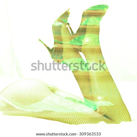 Double exposure female legs and high heels with smoky light background - stock photo