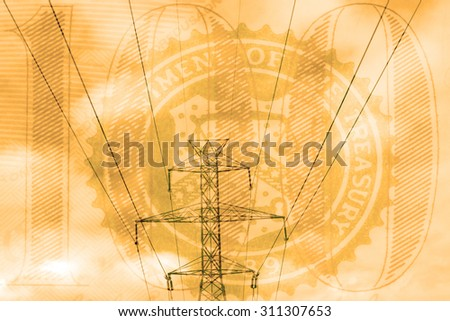 Double exposure high voltage power lines with American currency background - Expense and financial savings concept - stock photo