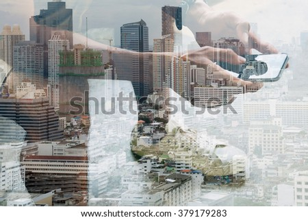 Double exposure image of people with smart phone and cityscape,communication technology concept - stock photo
