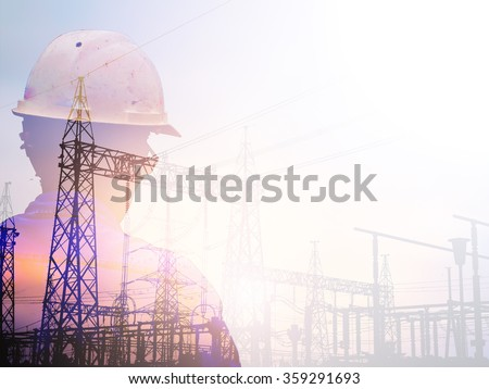 Double exposure man survey and civil engineer stand on ground working in a land building site over Blurred construction worker on construction site. examination, inspection, survey - stock photo