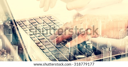 Double exposure modern technology as concept with laptop. - stock photo