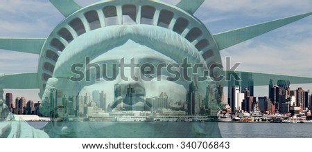 double exposure new york city cityscape skyline with statue of l - stock photo