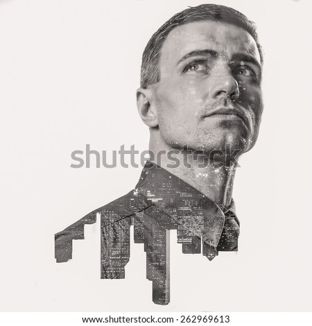 Double exposure of a city and professional businessman portrait looking up - stock photo
