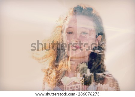 double exposure of a teenage girl and the city of Chicago - stock photo
