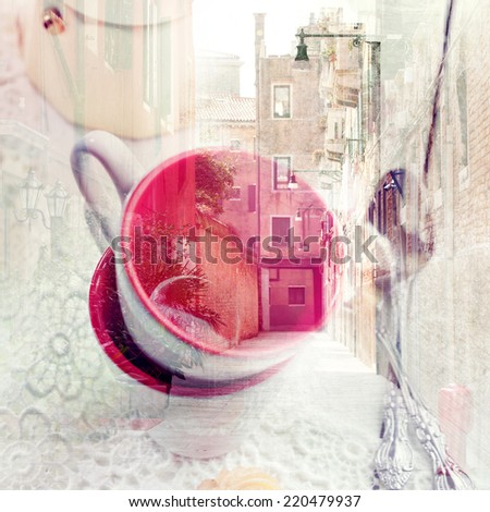 Double exposure of a typical Venice street view and italian espresso cups, square composition - stock photo