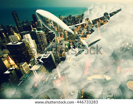 Double exposure of airplane over big city. Wanderlust concept. - stock photo