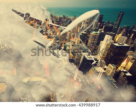 Double exposure of airplane over big city. Wunderlust  concept. - stock photo