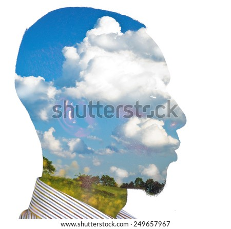 Double exposure of an african-american young business man for ecology concept - stock photo