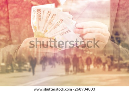 Double EXposure of Bank Officer Providing Service of Installment Loan in Cash, Euro Banknotes, toned image. - stock photo