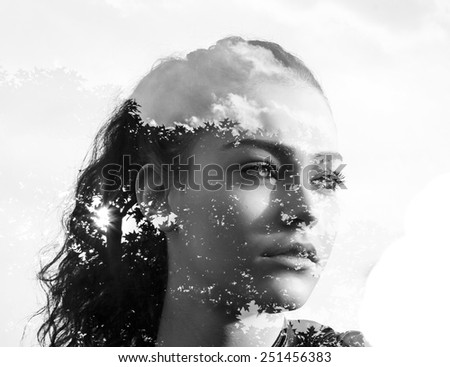 Double exposure of beautiful girl and leaves black and white - stock photo