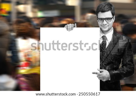Double exposure of Business man handing a blank business card ,isolated on white with clipping path - stock photo
