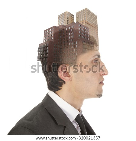 Double exposure of business man with skyscrapers isolated on white background - stock photo
