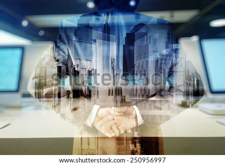 Double exposure of businessman and computer retail background as concept  - stock photo