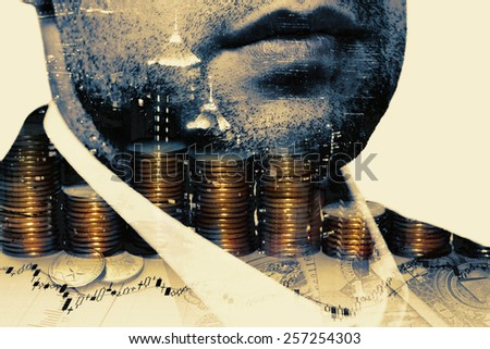 Double exposure of businessman and money. - stock photo