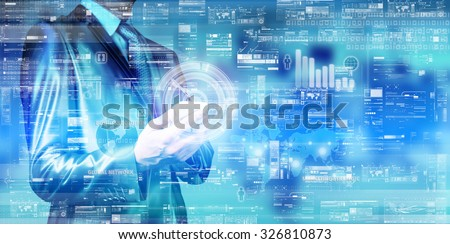 double exposure of businessman digital layer background - stock photo