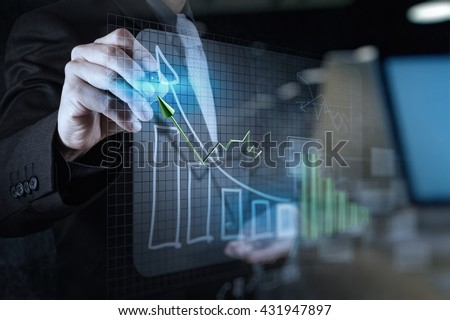 double exposure of businessman hand drawing virtual chart business on texture background - stock photo