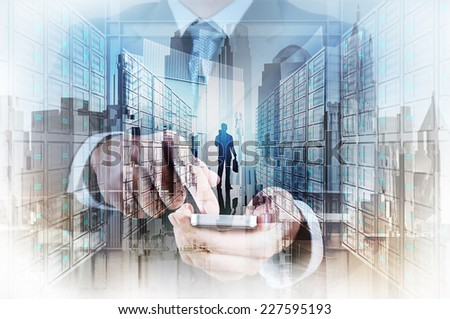 Double exposure of businessman hand use smart phone computer with people icon as concept  - stock photo