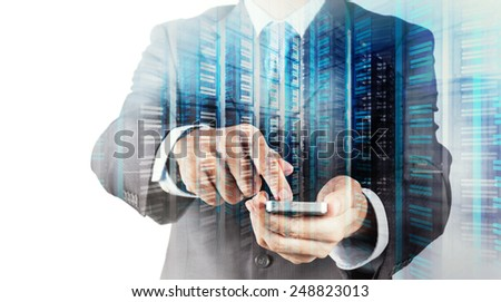 Double exposure of Businessman hand using mobile phone and server room as concept - stock photo